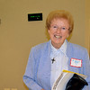 Precious Blood Sister Katie Lett takes a break from giving tours of Salem Heights during the June 3 reunion of the 1950 Regina High School class. Sister Katie, a member of the class and class president, hosted the reunion.