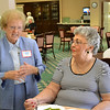 Precious Blood Sister Katie Lett, left, and Philomina (Picciano) Dillhoff socialize during the reunion. Sister Katie, who was class presdient, hosted the reunion.