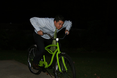 "Michael ""speeding"" away on the bike - 10.01.08."