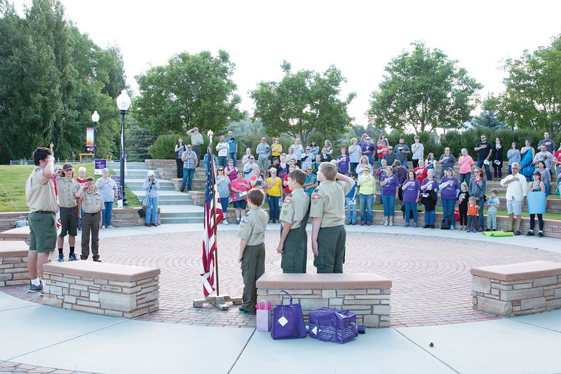 Matthew Gaston | The Sheridan Press<br>Boy Scout Troop 117 presented the colors for the National Anthem for the opening ceremony for the Relay for Life Saturday, June 22, 2019.