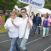 Marion Luoma, of Hubbardston, and Lindsey LeBlanc, of Gardner, walk for team Family Friends Forever at the Relay For Life at Mount Wachusett Community College on Friday evening.  SENTINEL & ENTERPRISE / Ashley Green