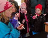 "Visitors (l to r) Stephanie & Kiara Tibbetts, of East Conway, Mckenna McGrath, of Lovell, ME, and Kaitlyn Tibbetts, of East Conway, enjoy a treat of ""sugar on snow"", which is hot maple syrup rolled in snow,  during the annual maple sugaring event at The Remick Country Doctor Museum and Farm, in Tamworth, NH, which was held March 27th, 2010."
