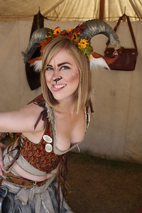 This naughty faun ate all the paper in the book vendor's tent. She looks naughty, too.