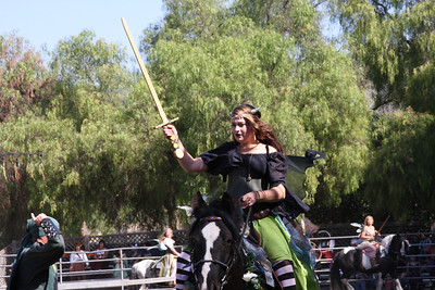 Fairy rider trying to catch a golden ring on her sword.