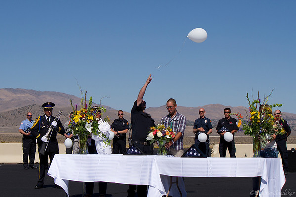 This is the second of eleven balloons that were released in honor of each of the victims. Regina Bynum, John Craik, Cheryl Elvin, George Hewitt, Wendy Hewitt, James McMichael, Greg Morcom, Craig Salerno, Sharon Stewart, Michael Wogan and pilot Jimmy Leeward. Tribute to the crash victims. September 16, 2012.