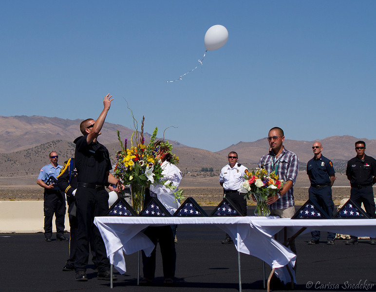 This is the seventh of eleven balloons that were released in honor of each of the victims. Regina Bynum, John Craik, Cheryl Elvin, George Hewitt, Wendy Hewitt, James McMichael, Greg Morcom, Craig Salerno, Sharon Stewart, Michael Wogan and pilot Jimmy Leeward. Tribute to the crash victims. September 16, 2012.