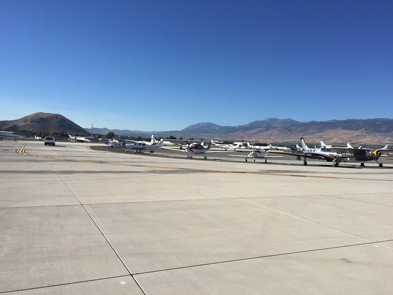 Lots and lots of airplanes parked at Reno International.