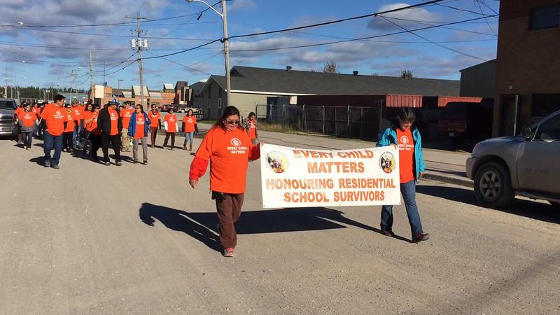 Walk in support of residential school survivors in Moosonee. Short video shot on First Street.