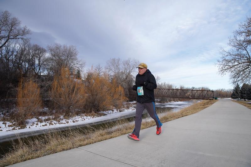 Matthew Gaston | The Sheridan Press<br>John Small sails to the finish line at Thorne-Rider Park during the Resolution Run 5K Saturday, Jan. 4, 2020.