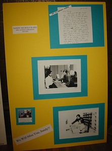 and created displays of old photos and quotes from past letters.