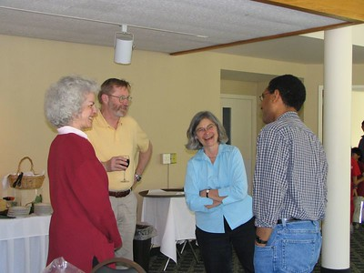 Faculty enjoying the party: Harriet, Paul, Janice, and Sean.(photo by Julie Habjan Boisselle)