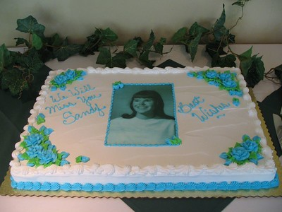 Beautiful cake (photo by Julie Habjan Boisselle) -- with image from 1965 college yearbook.