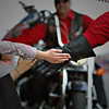 A hand slap from a Tenino Motorcycle Drill Team member