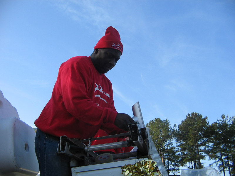 Pharris is the music man. He worked Saturday to get the sound system set up on the truck.