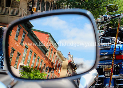 Reflection in motorcycle mirror Easton, PA 2012 Motorcycle Ride for  9/11 Hero 6/28/2014
