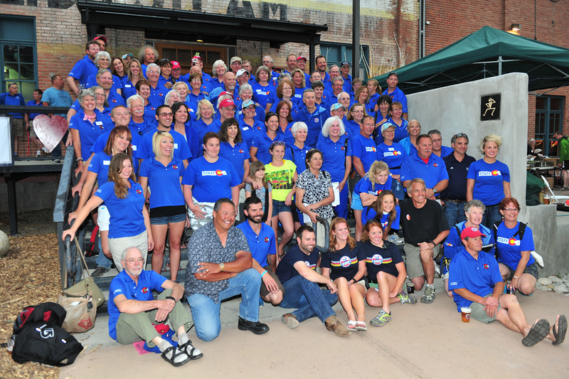 Making it all possible, the staff of Ride the Rockies poses outside the Steam Plant in Salida.