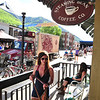 A pretty young lady heads back into the Steaming Bean Coffee Company in Telluride. The Steaming Bean was one of many great coffee houses along the RTR route.