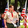"Debbie Blank | The Herald-Tribune<br /> North Decatur High School junior Alex Hamer, 16, of Boy Scout Troop 634 wrote a poem called ""Because of Them,"" which he read at the first two stops on the June 8 Ride to Remember honoring the late Chad Keith and Tony Seig. He spoke about loyalty, courage, respect and honor and said, ""Some gave all ... for the love of this land we all call home."""