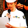 "Debbie Blank | The Herald-Tribune<br /> U.S. Naval Sea Cadet Corps Flying Tigers Squadron member Hailey Pippin, a Milan Intermediate School student, read a poem she wrote entitled ""What Makes a Soldier."" She pointed out, ""They're the ones who protect our nation ... They made their sacrifices because they loved their nation and its people."""