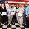 Debbie Blank | The Herald-Tribune<br /> New county businesses were recognized: (from left) George Hagan, API Americas, Osgood; Megan Jeffries and Matt McNew, German American Bank, Osgood; Leslie Faris and Sarah LaBrada, Back 2 Basics Salon, Napoleon; Lori Samples, Chozen Designs, Versailles; Lori Rennekamp, Bird in a Tree Boutique, Batesville; Donnie Thompson, Thompson Outdoor Power, Dillsboro; and Ed Brush, DCH Physical Therapy, Versailles. Not pictured are Loving Hearts Hospice & Palliative Care and The Sherman, Batesville; Mac's Auto Center, Friendship; Margarita's Mexican Grill, Sunman; and Monica's Boutique, Dillsboro.