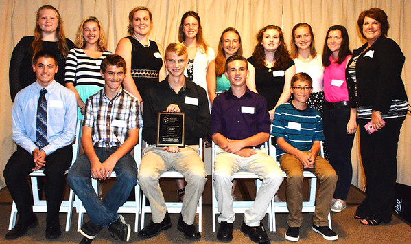 Debbie Blank | The Herald-Tribune<br /> Students Taking Action Against Negative Decisions received the RCDAC Youth Empowerment Award. Accepting the honor were (front row from left) Drake Main, Batesville High School; Rusty Phillips, Alex Volz and Ethan Honnert, Milan High School; Nathan Laswell, Jac-Cen-Del High School; (back row) Sarah Seals, JCDHS; Jane Jensen, BHS; Bailey Mullins, MHS; Karlee Wolfe, JCDHS; Toria Gobel, MHS; Mikayla Sutton, JCDHS; Liz Sutherlin, MHS; Clarisse Zigan, South Ripley High School; and STAAND adviser Amy Phillips.
