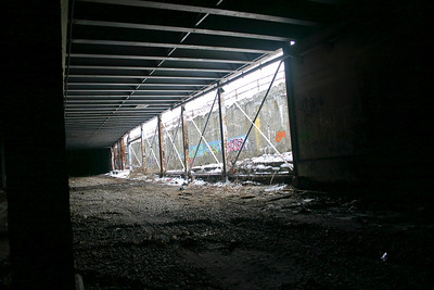 This looks like a break in the subway wall. Not sure if was open like this back when it was in operation.