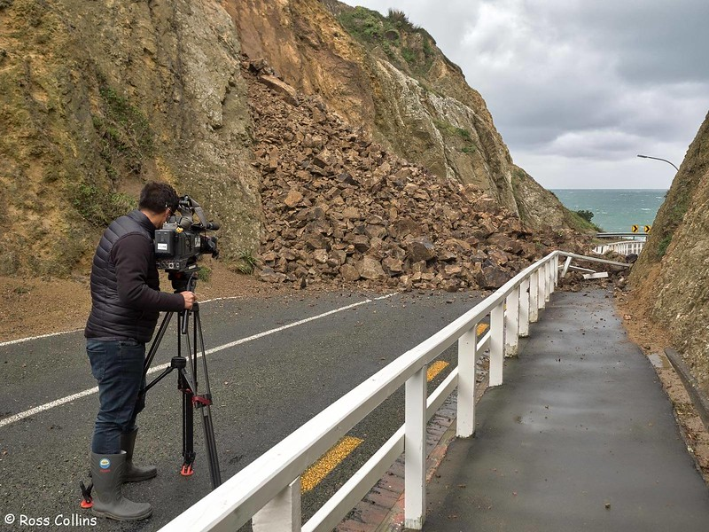 Rockfall at the Pass of Branda, Wellington, 1 September 2017