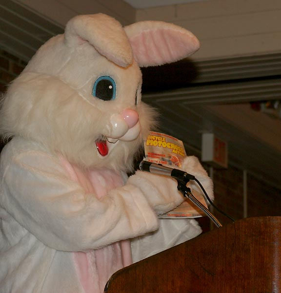 The Bunny (Scott Towne) relishes the spotlight.
