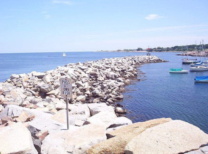 Rocky walk into Rockport Harbor