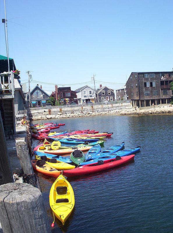 Colorful kayaks in Rockport Harbor