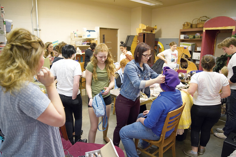 "Matthew Gaston | The Sheridan press<br>Students, teachers and parent volunteers hustle to get hair, make-up and costumes ready for the dress rehearsal of Sheridan High School's production of Rodgers and Hammerstein's ""Cinderella"" Tuesday, Feb. 25, 2020."