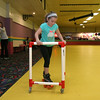 Roll On America in Lancaster hosted a sensory-friendly skating event on Tuesday morning. Trying not to fall as she skates at the event is Elyse Gamache, 7, of Holden. SENTINEL & ENTERPRISE/JOHN LOVE