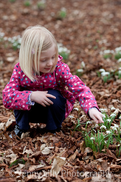 pretty child in woods of snowdrops
