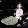 Celebration of Roudenbush Community Center reopening after renovations. Annabelle Ferolito, 3, of Chelmsford, tries out drums from Music Together, a weekly music class for newborns to age 5. (SUN Julia Malakie)