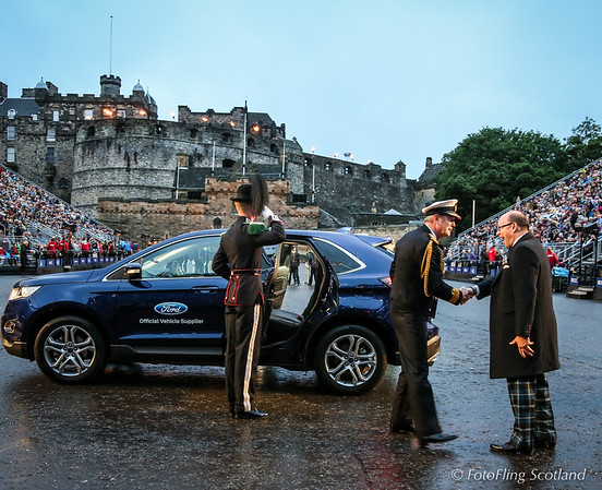Brigadier David Alfrey CEO and Producer of the Tattoo greets official dignatory