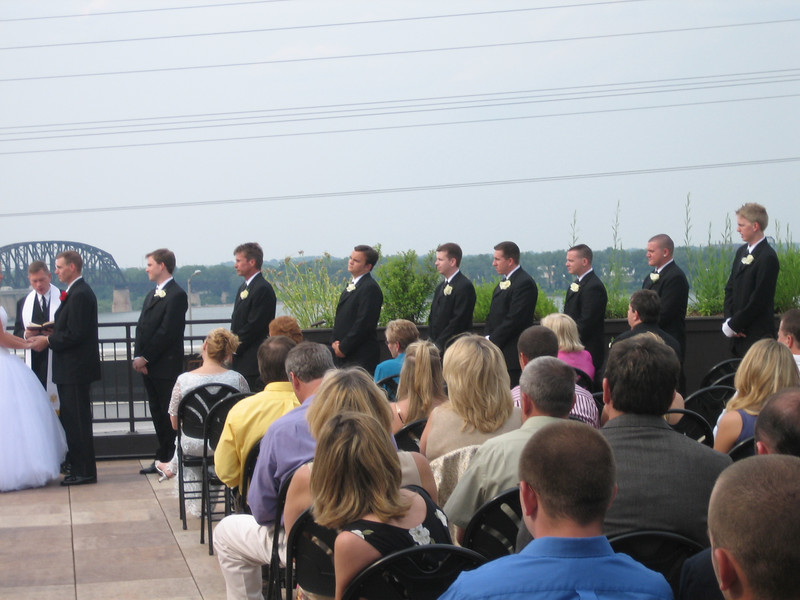 Groomsmen. The wedding, on the roof of the Frazier Arms Museum overlooking the Ohio River