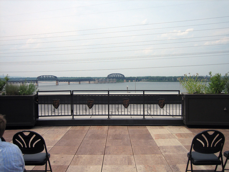 The wedding, on the roof of the Frazier Arms Museum overlooking the Ohio River