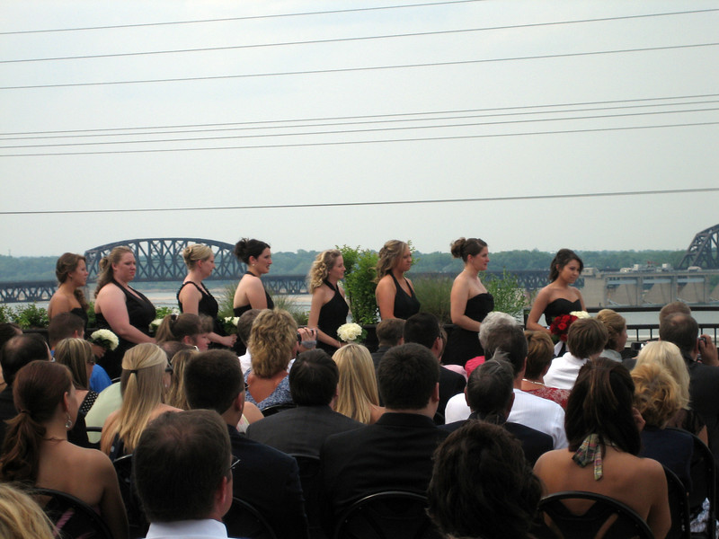 Bridesmaids. The wedding, on the roof of the Frazier Arms Museum overlooking the Ohio River