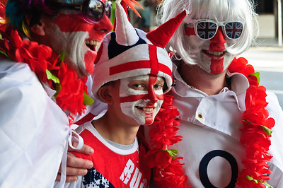 English rugby fans on the way to the quarter final game between England and France Rugby World Cup 2011 Kranagahape Road Auckland