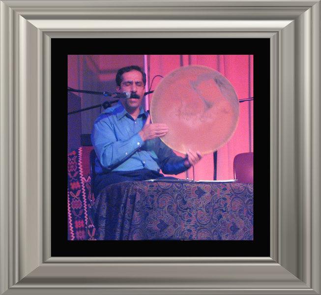 Shahram Mazhari, daf frame drum [borders, silver frame]