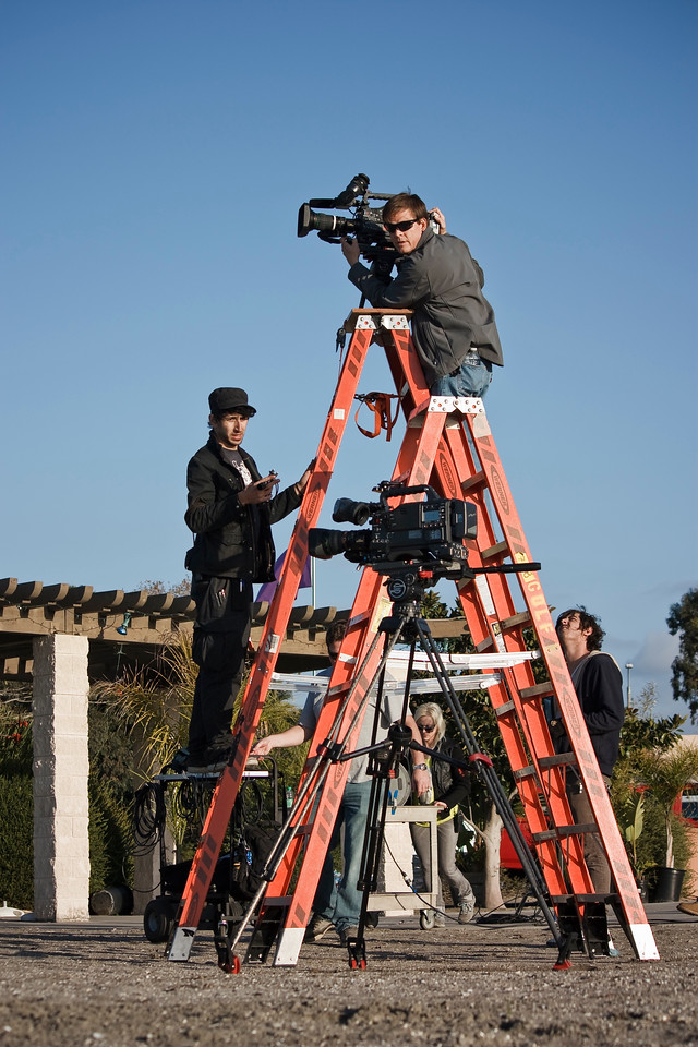 The musical portion of the video will have 2 cameras rolling. One is mounted on a 12 foot ladder for a unique high vantage point.