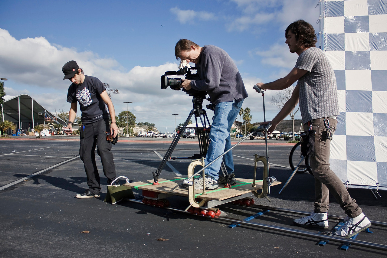 Adam and Mike setup for a scene with a dolly shot.