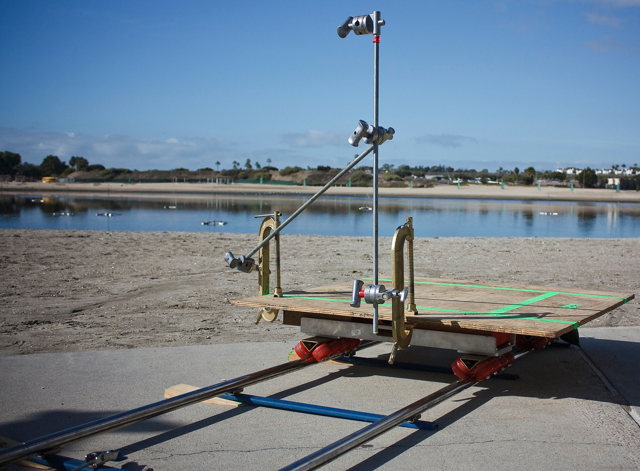Dolly, camera platform and track setup for the next scene.