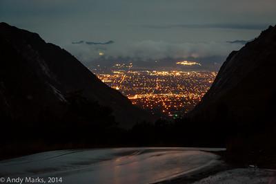 Salt Lake valley as seen from Little Cottonwood Cnyn, about 1mi below the start.