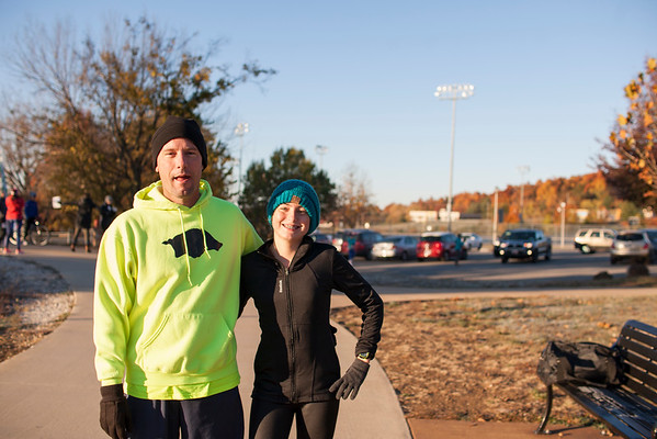 Runners braved the cold to gathering at three different start lines for an 8.5 mile race starting at Lake Fayetteville, a 4.5 starting at Gordon Long Park, or a  2.5  starting at Wilson Park for Fayetteville's Run for the Parks event which finished at Walker Park, Sunday.