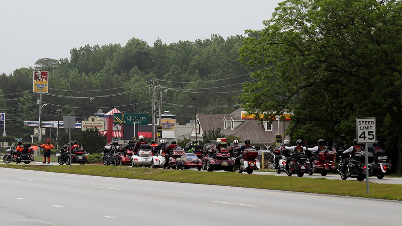 Waiting to get to the gas station on 264A