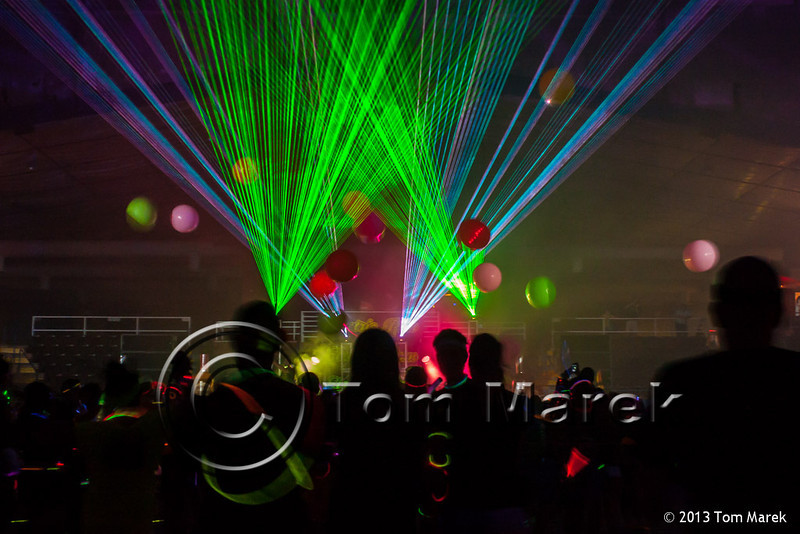 A laser light show in the Expo Center greeted the finishers of the Electric Run.