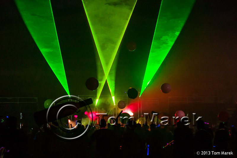 Finishers party to dance music at the finish of the Electric Run