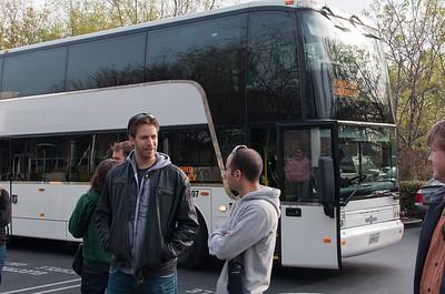 The bus arrives.