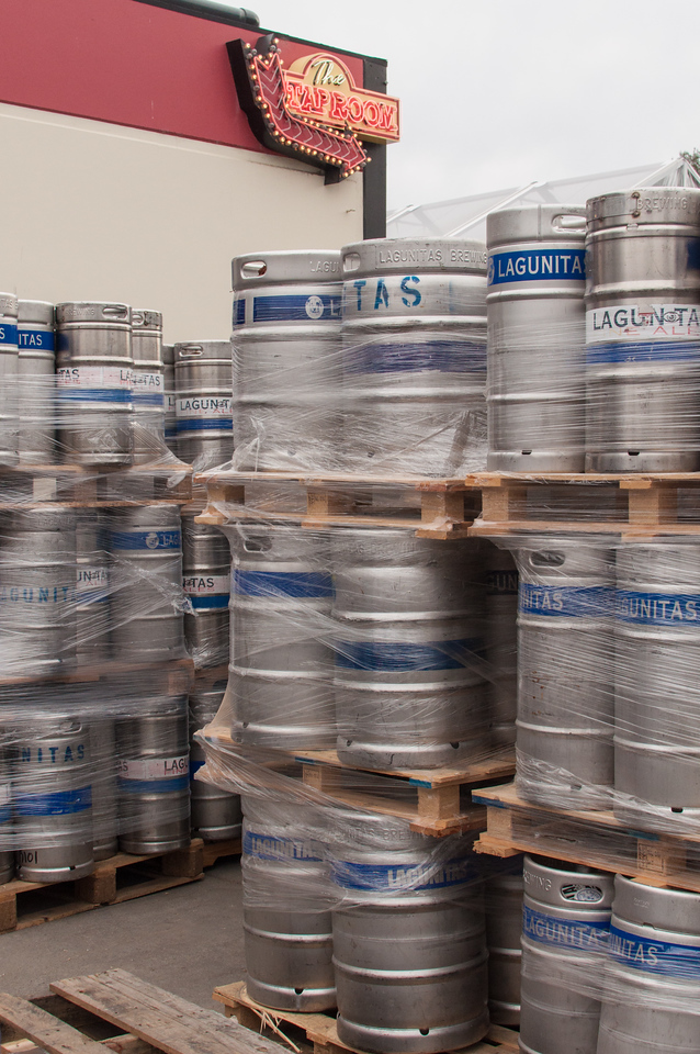 Kegs wait to be filled outside the Lagunitas brewery.